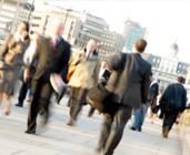 People walking among electromagnetic radiation.